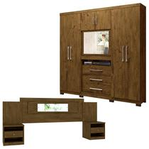Guarda Roupa Casal Dubai e Cabeceira Sevilha Castanho Wood - Moval -