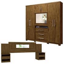 Guarda Roupa Casal Dubai e Cabeceira Sevilha Castanho Wood Moval -