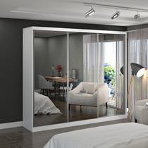 Guarda Roupa Casal Espelhado 3 Portas de Correr MDF MM774E3 Espresso Móveis Branco -