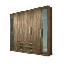 Guarda-Roupa Casal Havana Master Atacama 8 Portas Espelhos 6 Gavetas com Cofre Embutido - Santos Andirá -