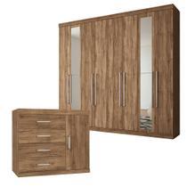 Guarda-Roupa Casal Havana Master Vip 8 Portas 4 Gavetas com Espelho e Cômoda 1 Porta 4 Gavetas Santos Andirá - Santos Andira
