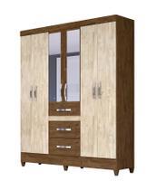 Guarda Roupa Casal Itatiba com Espelho Castanho Wood Avelã Wood Moval -