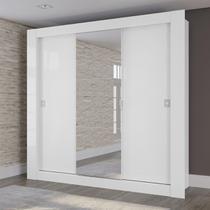 Guarda Roupa Casal Kappesberg Com Espelho 3 Portas De Correr Branco -