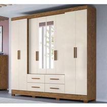 Guarda Roupa Casal Lorenzo 8 Portas 4 gavetas com Espelho Moval 139 864391 8 -