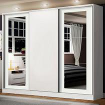 Guarda-Roupa Casal Madesa Eros 3 Portas de Correr com Espelhos - Branco - Madesa Móveis -