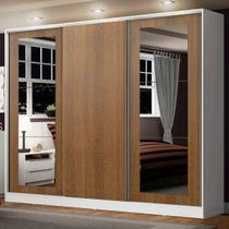 Guarda-Roupa Casal Madesa Eros 3 Portas de Correr com Espelhos - Branco/Rustic - Madesa Móveis -