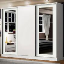 Guarda-Roupa Casal Madesa Eros 3 Portas de Correr com Espelhos - Branco -