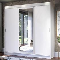 Guarda-Roupa Casal Madesa Istambul 3 Portas de Correr com Espelho 3 Gavetas - Branco -