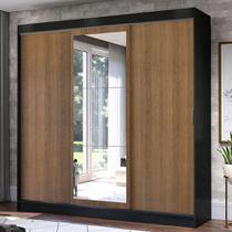 Guarda-Roupa Casal Madesa Istambul 3 Portas de Correr com Espelho 3 Gavetas - Preto/Rustic -