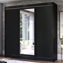 Guarda-Roupa Casal Madesa Istambul 3 Portas de Correr com Espelho 3 Gavetas - Preto -