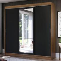 Guarda-Roupa Casal Madesa Istambul 3 Portas de Correr com Espelho 3 Gavetas - Rustic/Preto -