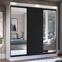 Guarda-Roupa Casal Madesa Istambul 3 Portas de Correr com Espelhos 3 Gavetas - Branco/Preto -