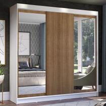 Guarda-Roupa Casal Madesa Istambul 3 Portas de Correr com Espelhos 3 Gavetas - Branco/Rustic -