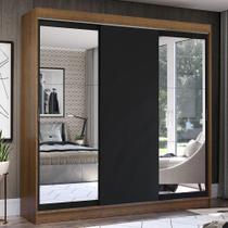 Guarda-Roupa Casal Madesa Istambul 3 Portas de Correr com Espelhos 3 Gavetas - Rustic/Preto -