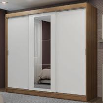 Guarda-Roupa Casal Madesa Kansas 3 Portas de Correr com Espelho 3 Gavetas -