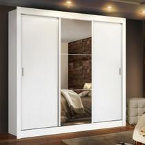 Guarda Roupa Casal Madesa Lyon Plus 3 Portas de Correr com Espelho 4 Gavetas Branco - Madesa Móveis -