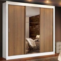 Guarda Roupa Casal Madesa Lyon Plus 3 Portas de Correr com Espelho 4 Gavetas - Madesa Móveis -
