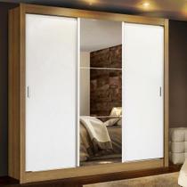 Guarda Roupa Casal Madesa Lyon Plus 3 Portas de Correr com Espelho 4 Gavetas -