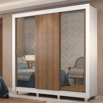 Guarda-Roupa Casal Madesa Lyon Plus 3 Portas de Correr com Espelhos 4 Gavetas com Pés -