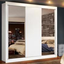 Guarda-Roupa Casal Madesa Lyon Plus 3 Portas de Correr com Espelhos 4 Gavetas -