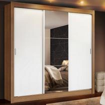 Guarda Roupa Casal Madesa Mônaco 3 Portas de Correr com Espelho Amadeirado/Branco - Madesa Móveis -
