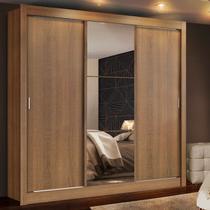 Guarda Roupa Casal Madesa Mônaco 3 Portas de Correr com Espelho Amadeirado - Madesa Móveis -
