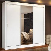 Guarda Roupa Casal Madesa Mônaco 3 Portas de Correr com Espelho Branco - Madesa Móveis -