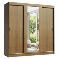 Guarda-Roupa Casal Madesa Reno 3 Portas de Correr com Espelho -