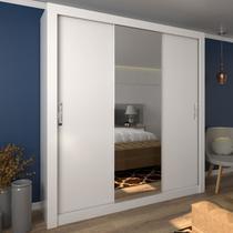Guarda-roupa Casal Malu 3 Portas De Correr Com Espelho Ultra Branco - Pnr Móveis -
