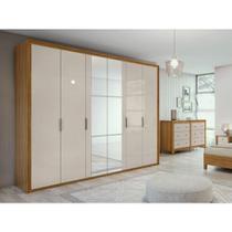 Guarda Roupa Casal MDF Espelho 6 Portas 6 Gavetas Sapateira Stylus Móveis Lopas Rovere Naturale/Off White -
