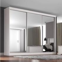 Guarda Roupa Casal Napoli com 3 Espelho 3 Portas de Correr 3 Gavetas Móveis Europa Branco CestaPlus -
