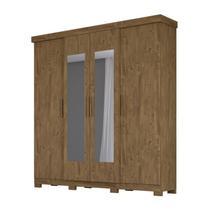 Guarda Roupa Casal Ouro Preto 4P Com Espelho Castanho Wood Moval -