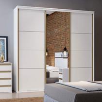 Guarda Roupa Casal Porta Espelhada 3 Portas de Correr 267cm Eleganza Pop Belmax Branco -