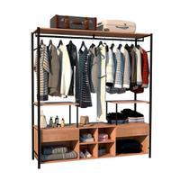 Guarda roupa casal roupeiro closet barcelona  industrial marrom / preto - artefamol