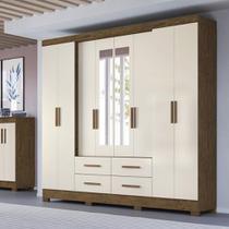 Guarda Roupa Casal San Lorenzo 8 Portas 4 Gavetas Com Espelho Moval -