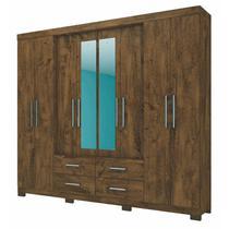 Guarda Roupa Casal San Lorenzo 8 Portas e Espelho Castanho Wood - Moval -