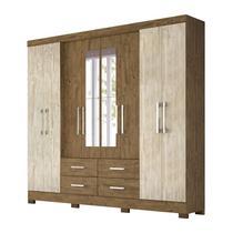 Guarda Roupa Casal San Lorenzo 8P Com Espelho Castanho Avela Wood Moval -