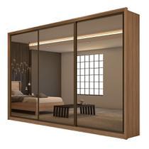 Guarda Roupa Casal Spazio Super Glass C/Espelho 3 Portas 6 Gavetas Carvalho Naturale/Off White - Lopas -