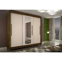Guarda Roupa Casal Tokyo 3 Portas de Correr  Com Espelho  Sallêto Móveis Cestaplus Cor Ipê/ OffWhite -