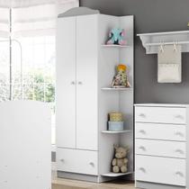 Guarda Roupa de Bebê 2 Portas 1 Gaveta Confete Plus Multimóveis Flex Color Branco Polar/Colorido Premium -