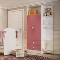 Guarda Roupa de Bebê 2 Portas 2 Gavetas com Cantoneira Baby Móveis Percasa Branco/Rosa -