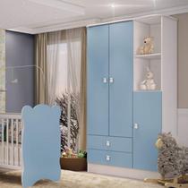 Guarda Roupa de Bebê 3 Portas 2 Gavetas Baby Móveis Percasa Branco/Azul -