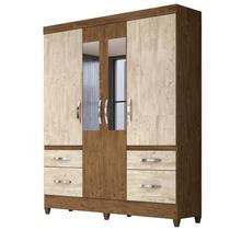 Guarda Roupa de Casal Londres 04 Portas e Espelho Castanho/Avelã Wood - Moval -