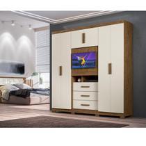 Guarda Roupa Dubai Plus 6 Portas com Suporte para TV ou Espelho Moval -