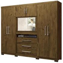Guarda Roupa Dubai Plus Moval 3 gavetas e 6 portas - Castanho Wood -