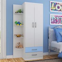 Guarda Roupa Infantil 2 Portas 2 Gavetas com 4 Prateleiras Externas Espresso Móveis Branco/Azul -