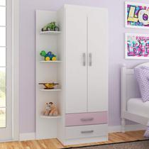 Guarda Roupa Infantil 2 Portas 2 Gavetas com 4 Prateleiras Externas Espresso Móveis Branco/Rosa -