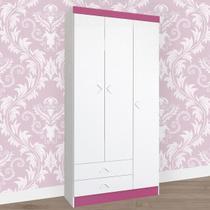 Guarda-roupa Infantil 3 Portas 2 Gavetas Flex Branco/rosa Brilho 3160r - Atualle Móveis -