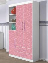 Guarda Roupa infantil Emoção 3 portas e 2 gavetas Branco com Rosa - Zanzini