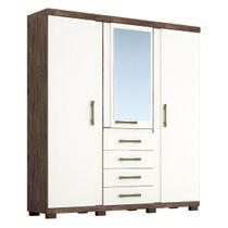 Guarda Roupa Laguna 3 Portas Espelho 100% Mdf Café/Off White - Acp